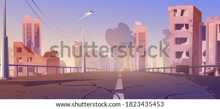 City destroy in war zone, abandoned buildings and bridge with smoke. Destruction, natural disaster or cataclysm, post-apocalyptic world ruins with broken road and street, cartoon vector illustration