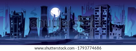 City destroy in war zone, abandoned buildings at night. Destruction, natural disaster or cataclysm consequences, post-apocalyptic world ruins with broken road and street cartoon vector illustration