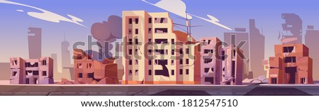 City destroy in war zone, abandoned buildings with smoke. Destruction, natural disaster or cataclysm consequences, post-apocalyptic world ruins with broken road and street cartoon vector illustration