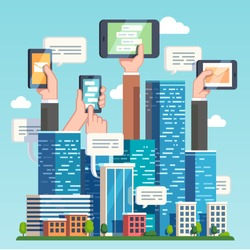 City downtown communications. Urban area social networking via modern smart devices, phones and tablets. Skyscrapers and hands holding technology. Flat style vector illustration.
