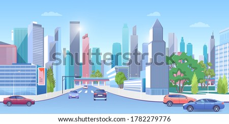 City downtown in summer vector illustration. Cartoon 3d urban sunny panoramic cityscape, cars on street road, modern town architecture and green trees, billboards on building skyscrapers background Сток-фото ©