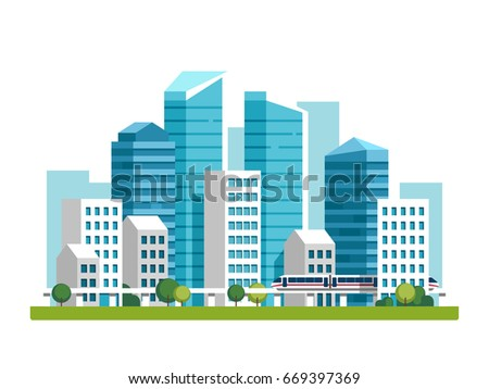 City downtown landscape with high skyscrapers and subway. Vector illustration.