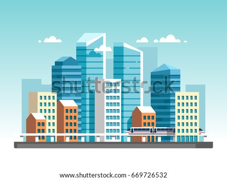 city downtown landscape with