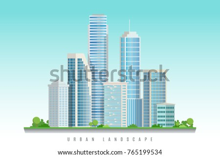 City downtown landscape with skyscrapers.Vector illustration.