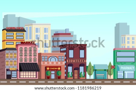 City downtown scenery with skyscrapers, shopping centers, markets, cinemas, restaurants, pharmacies, offices and other urban landscape in a vector. #1181986219