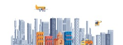 City downtown urban landscape with high skyscrapers isolated abstract pixel art vector illustrations big city business center. Panorama architecture. 8-bit. Skyline city office buildings and houses.