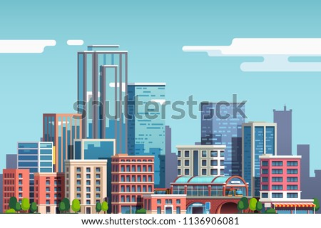 City downtown with skyscrapers, business buildings, clouds, blue sky. City center downtown cityscape view. Big city buildings. Town real estate clipart. Flat vector illustration isolated on background