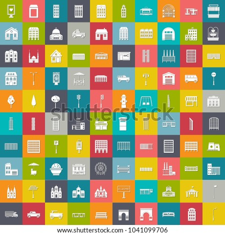 city elements icons, infographic building, road elements, architecture cityscape icons collection