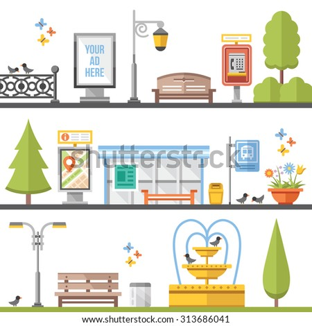 City elements, outdoor elements and city scenes flat illustrations set. Modern flat design concepts for web banners, web sites, printed materials, infographics, games. Creative vector illustration