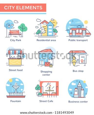 City elements set, thin line icons, flat design