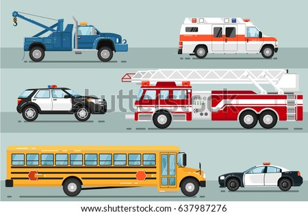 City emergency transport isolated set. Ambulance car, tow truck, school bus, police car, fire truck vector illustration. Service auto vehicle, urban social car, roadside assistance transport.