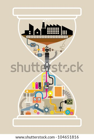 City factory in hourglass, illustrator vector