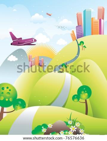 city fantasy landscape vector