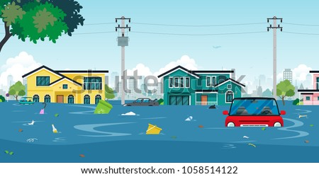 city floods and cars with
