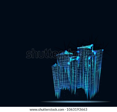 City, future, futuristic concept, metropolis for Vr glasses, virtual reality abstract city. Low poly vector illustration. 3D.