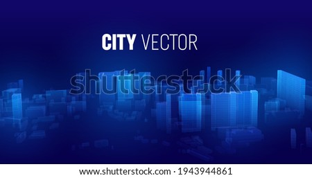 City future vector background. Cyberspace futuristic city in game. Cyberspace matrix technology