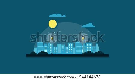 city garden at night