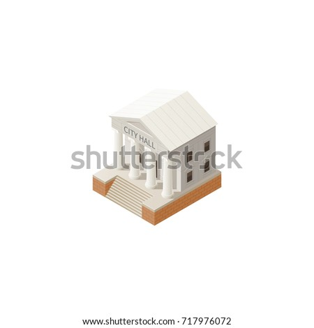 City Hall architecture public government building. Icon isometric style vector illustration isolated on white background.