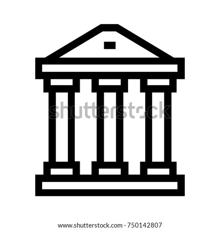 City hall building icon. Government structure line vector symbol. Law and justice sign. Pixel perfect EPS illustration.