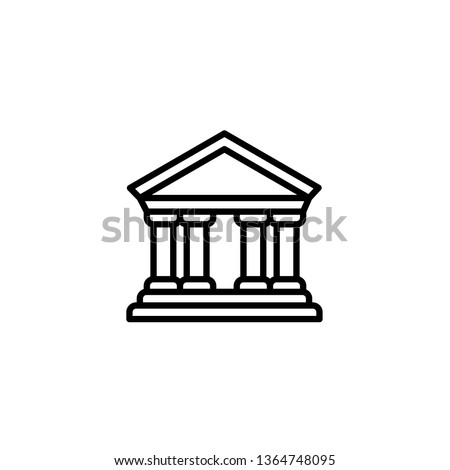 City hall icon. Bank icon. Courthouse, greek architecture, library, church, government. Columns and pillars. Trendy Flat style for graphic design, Web site, UI. EPS10. Stockfoto ©