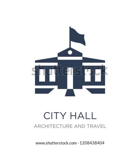 city hall icon trendy flat