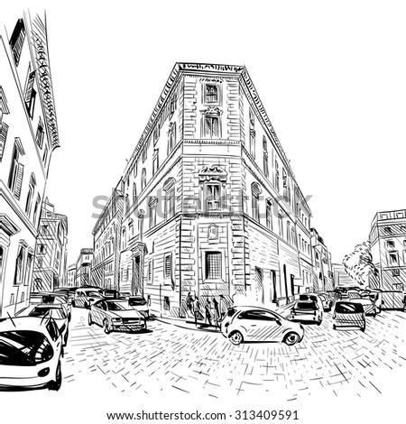 city hand drawn street sketch
