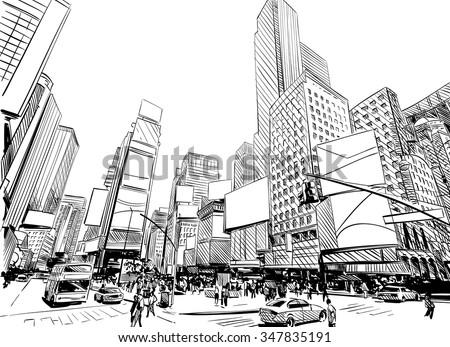 Line Art City : Big city illustration download free vector art stock graphics