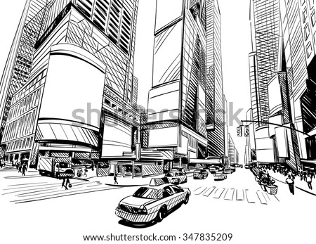 stock vector city hand drawn unique perspectives vector illustration new york city times square 347835209 - Каталог - 3d фотообои