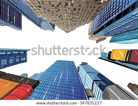 stock vector city hand drawn unique perspectives vector illustration new york city times square 347835227 - Каталог - 3d фотообои