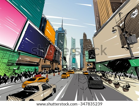 stock vector city hand drawn unique perspectives vector illustration new york city times square 347835239 - Каталог - 3d фотообои