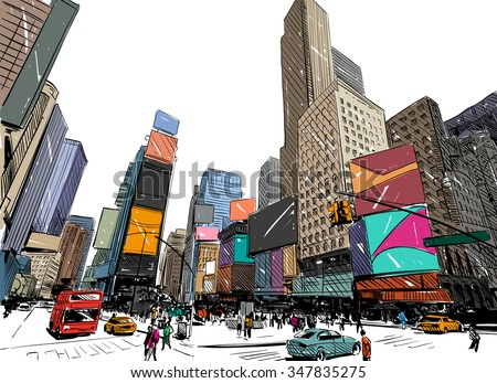 stock vector city hand drawn unique perspectives vector illustration new york city times square 347835275 - Каталог - 3d фотообои