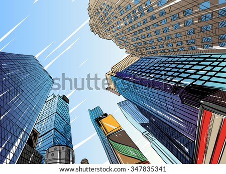 stock vector city hand drawn unique perspectives vector illustration new york city times square 347835341 - Каталог - 3d фотообои