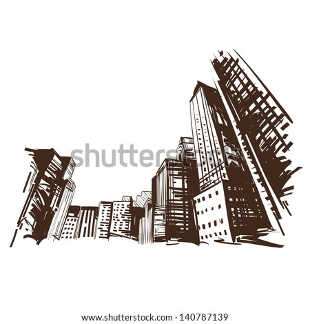 City hand drawn Vector illustration
