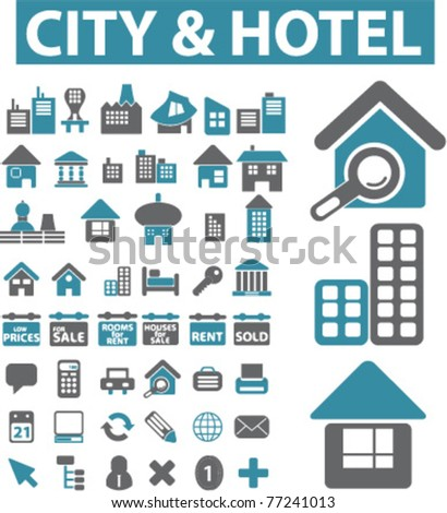 city   hotel icons  signs