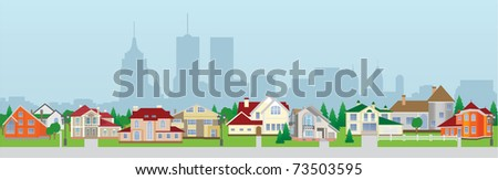 City houses. Vector illustration