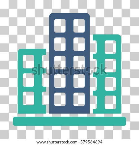City icon. Vector illustration style is flat iconic bicolor symbol, cobalt and cyan colors, transparent background. Designed for web and software interfaces.