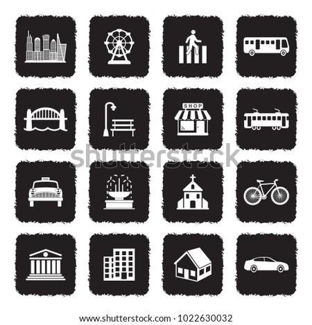 city icons grunge black flat