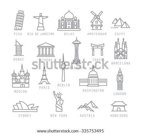 City icons in flat style with names Pisa, Rio, Delhi, Amsterdam, Dubai, Athens, Seattle, Tokyo, Barcelona, Berlin, Washington, Paris, London, Sydney, New York, Hong Kong