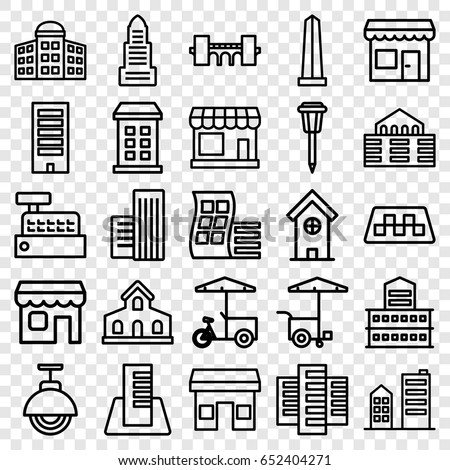 City icons set. set of 25 city outline icons such as taxi, store, building, modern curved building, building   isolated  sign symbol, business center, bridge, monument