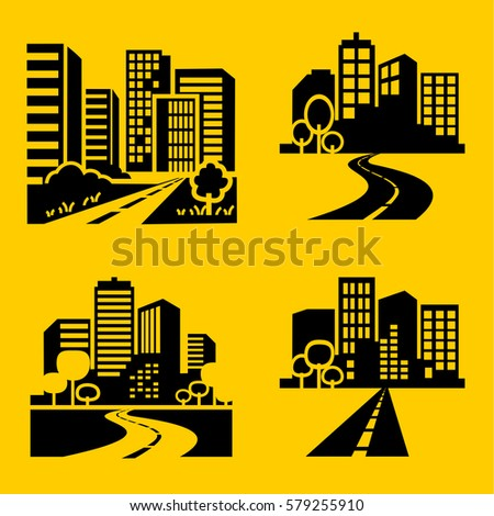 City icons vector.