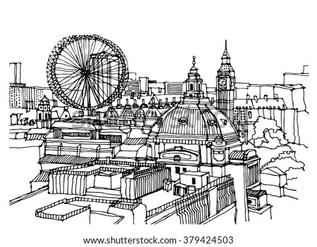 city illustration hand drawn