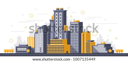 city illustration towers and