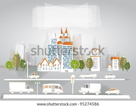 "City illustration ""White city"" collection"