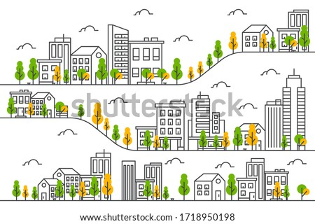 City illustration with a thin line style.City landscape. Urban life Vector illustration Photo stock ©