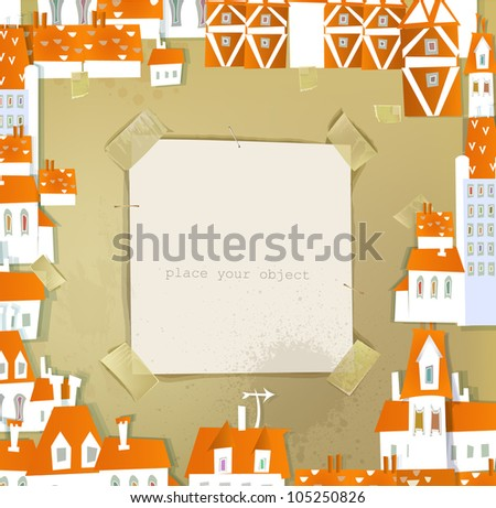city  illustration with paper space for text HAPPY WORLD COLLECTION