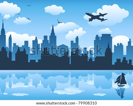 city in blue sky and its