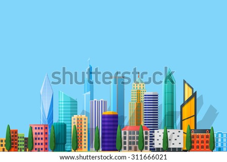 city in flat style detailed