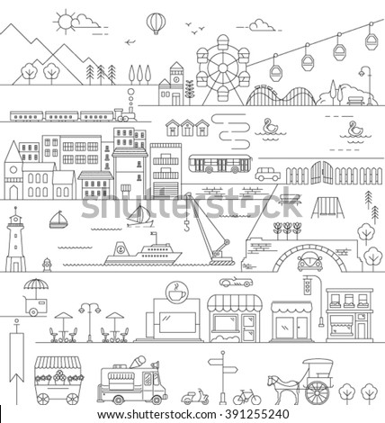 CITY IN LINE ART, FLAT ICONS STYLE. Editable vector illustration file.skyline bird view.