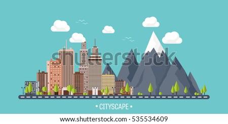 city in summer urban landscape