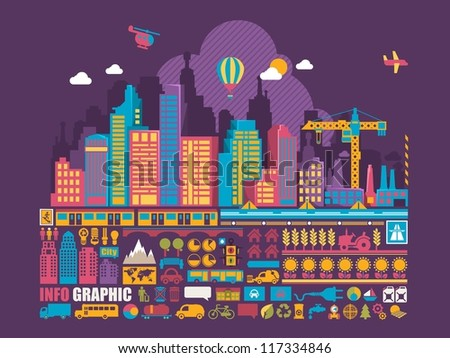 city info graphic background,vector elements